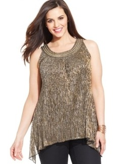 Alfani Plus Size Embellished Metallic Top
