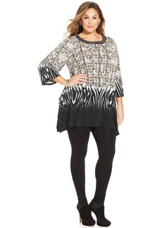Alfani Plus Size Embellished-Neck Printed Tunic