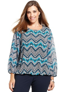 Alfani Plus Size Embellished Printed Blouson Top