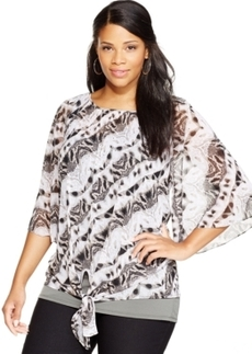 Alfani Plus Size Embellished Tie-Front Top