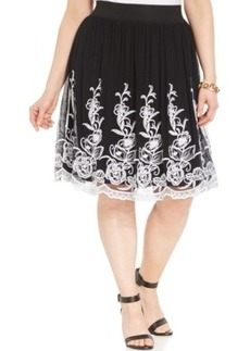 Alfani Plus Size Embroidered A-Line Skirt