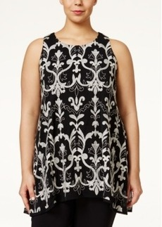 Alfani Plus Size Embroidered Handkerchief-Hem Tank Top, Only at Macy's