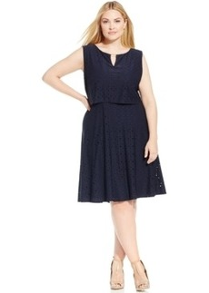 Alfani Plus Size Eyelet A-Line Dress