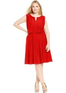 Alfani Plus Size Eyelet A-Line Dress
