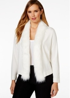 Alfani Plus Size Faux-Fur Collar Open-Front Cardigan, Only at Macy's