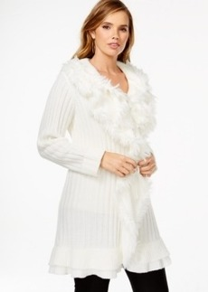 Alfani Plus Size Faux-Fur-Trimmed Ruffle Sweater Coat, Only at Macy's