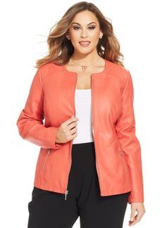 Alfani Plus Size Faux-Leather Jacket