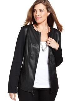 Alfani Plus Size Faux-Leather Mixed-Material Jacket