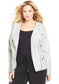 Alfani Plus Size Faux-Leather Moto Jacket