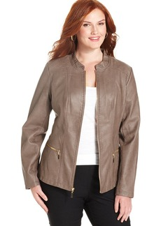 Alfani Plus Size Faux-Leather Quilted Jacket