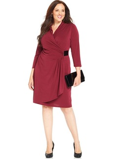 Alfani Plus Size Faux-Leather-Trim Faux-Wrap Dress