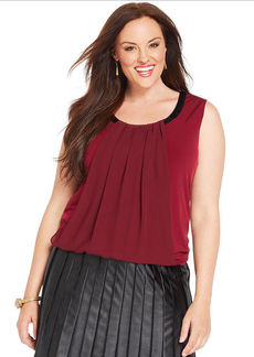 Alfani Plus Size Faux-Leather-Trim Pleated Top