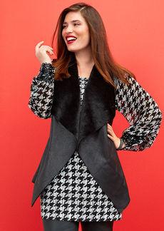 Alfani Plus Size Faux-Leather-Trim Printed Top
