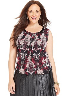 Alfani Plus Size Faux-Leather-Trim Printed Top