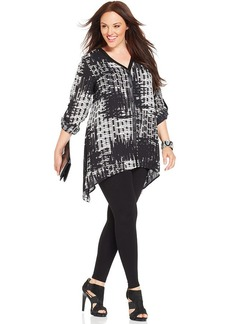 Alfani Plus Size Faux-Leather-Trim Printed Tunic
