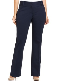 Alfani Plus Size Faux-Leather-Trim Straight-Leg Pants