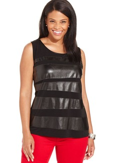 Alfani Plus Size Faux-Leather-Trim Top
