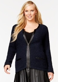 Alfani Plus Size Faux-Leather-Trim Zip-Front Boucle Jacket, Only at Macy's