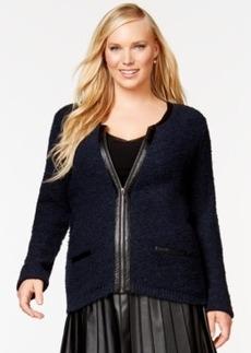 Alfani Plus Size Faux-Leather-Trim Zip-Front Boucle Jacket, Only at Macy's