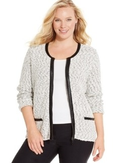 Alfani Plus Size Faux-Leather-Trim Zip-Front Jacket, Only at Macy's