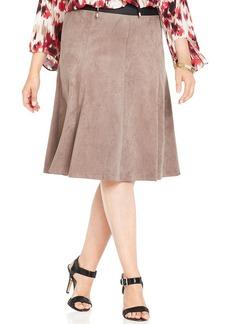 Alfani Plus Size Faux-Suede A-Line Skirt