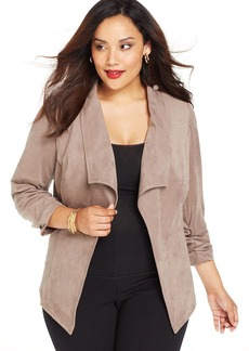 Alfani Plus Size Faux-Suede Draped Jacket