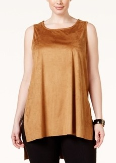 Alfani Plus Size Faux-Suede Tank Top, Only at Macy's