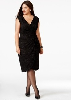 Alfani Plus Size Faux-Wrap Glitter Sheath Dress, Only at Macy's