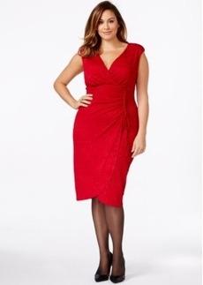 Alfani Plus Size Faux-Wrap Glitter Sheath Dress, Only at Macy's