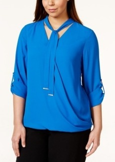 Alfani Plus Size Faux-Wrap Tie-Neck Blouse, Only at Macy's