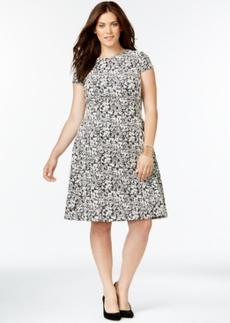 Alfani Plus Size Fit-and-Flare Floral Dress, Only at Macy's