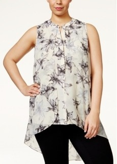 Alfani Plus Size Floral-Print Chiffon Flyaway Top, Only at Macy's