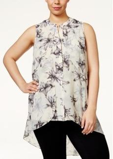 Alfani Plus Size Floral-Print Chiffon Flyaway Top, Only at Macy's