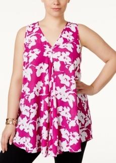 Alfani Plus Size Floral-Print Flyaway Top, Only at Macy's
