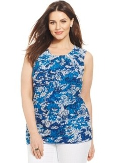 Alfani Plus Size Floral-Print Pleated Shell