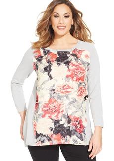 Alfani Plus Size Floral-Print Sweatshirt