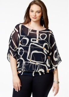 Alfani Plus Size Flutter-Sleeve Banded-Hem Top, Only at Macy's