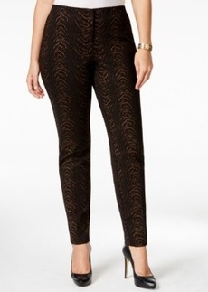 Alfani Plus Size Foiled Animal-Print Straight-Leg Pants, Only at Macy's