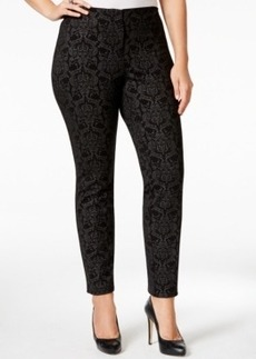 Alfani Plus Size Foiled Damask-Print Straight-Leg Pants, Only at Macy's