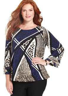 Alfani Plus Size Fringe-Sleeve Printed Blouson Top