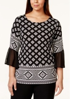 Alfani Plus Size Geo-Print Bell-Sleeve Blouse, Only at Macy's