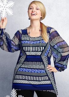 Alfani Plus Size Geo-Print Handkerchief-Hem Tunic