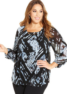 Alfani Plus Size Geo-Print Hardware Top