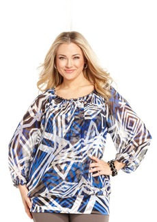 Alfani Plus Size Geo-Print Peasant Top