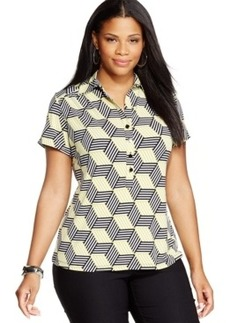 Alfani Plus Size Geo-Print Polo Top