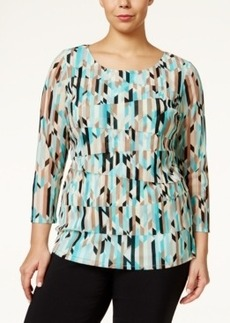 Alfani Plus Size Geo-Print Tiered Top, Only at Macy's