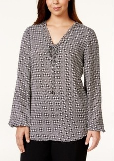 Alfani Plus Size Geometric-Print Lace-Up Blouse, Only at Macy's