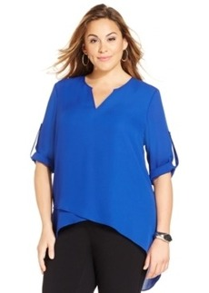 Alfani Plus Size High-Low Crossover Top, Only at Macy's