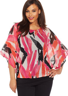 Alfani Plus Size Kimono-Sleeve Abstract-Print Top