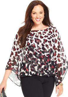 Alfani Plus Size Kimono-Sleeve Animal-Print Blouson Top